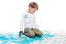 Boy Painting Over White Stock Photo