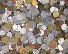 World Coins Stock Photo