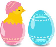 Free Easter Eggs Wich Chicken Royalty Free Stock Images - 19067549