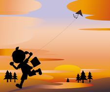 Free Sunset Girl Flying A Kite Stock Image - 19068961