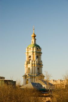 Free Belfry Of The Novospassky Monastery At Sunset Royalty Free Stock Photography - 19069817