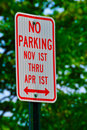 Free No Parking November 1st Thru April 1st Stock Photos - 19075313