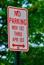 Free No Parking November 1st Thru April 1st Stock Photos - 19075313