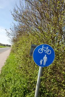 Pedestrian And Cycle Lane Royalty Free Stock Photo