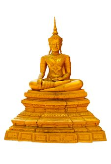 Free Golden Buddha Statue On White Background Royalty Free Stock Images - 19071149