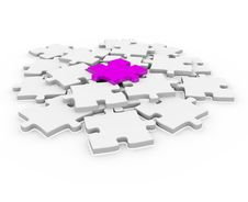 Free 3d Puzzle Magenta White Success Stock Photography - 19071222