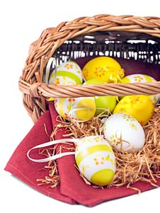 Free Easter Wicker Basket With Colorful Eggs Stock Photo - 19071340