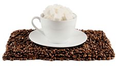 Coffee Cup With Beans And Lump Sugar Stock Image