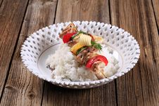 Free Chicken Kebab And Rice Royalty Free Stock Images - 19071519