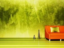 Free A Nice Sofa And Vases On The Grunge Royalty Free Stock Photo - 19072355