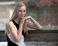 Pretty Blond Teen By Lake Stock Photo