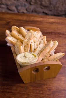 Garlic Crusty Bread In A Basket. Stock Photography