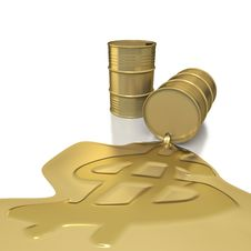 Two Golden Barrels With Dollar Embossed Spill Royalty Free Stock Photo