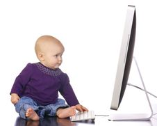 Free Infant Typing On Computer Royalty Free Stock Images - 19075859