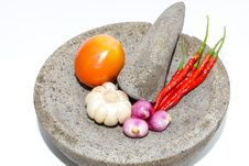 Free Mortar With Chili, Tomatto, Garlic And Onion. Royalty Free Stock Photos - 19076778