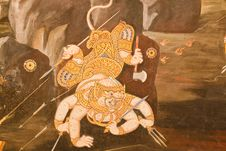 Free Thai Style Painting Art On Temple Wal Royalty Free Stock Photo - 19077155