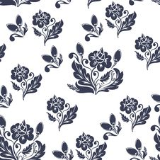 Free Dark Blue Floral Seamless Pattern Stock Image - 19077281
