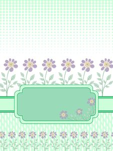 Green Banner With A Floral Frame Stock Photos