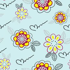 Free Seamless Pattern With Yellow Flowers Stock Photo - 19077320
