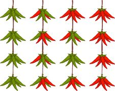 Peppers Hanging On A Rope Royalty Free Stock Images