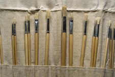 Free New Paintbrushes In Canvas Pouch Royalty Free Stock Images - 19077919