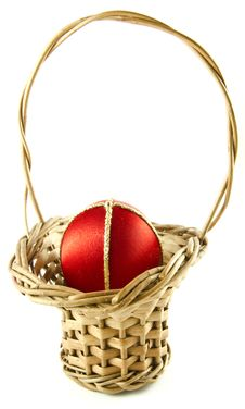 Easter Egg In A Wattled Basket Royalty Free Stock Image