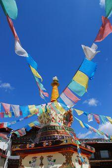 Tower Of Tibetan Prayer Flags Stock Image