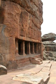 Rock-cut Temple At Badami Royalty Free Stock Photos