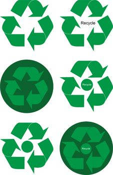 Free Green Recycle Elements Royalty Free Stock Photos - 19078318