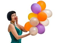 Pretty Girl With Colored Balloons Stock Images