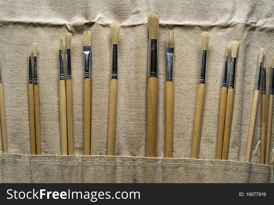 New Paintbrushes in Canvas Pouch