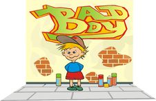 Free Little Rascal - Wall Painting Royalty Free Stock Image - 19080156