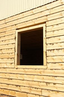 Free Window Opening In The New Log Houses Royalty Free Stock Photography - 19080627