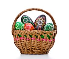 Free Eggs In Easter Basket Royalty Free Stock Images - 19081199