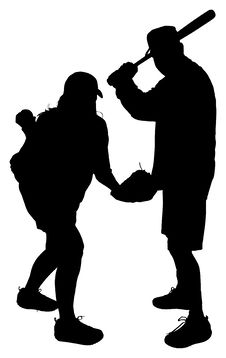 Silhouettes Of Adult Couple Playing Baseball Royalty Free Stock Photos