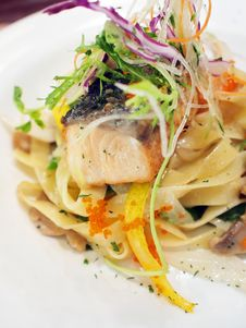 Free Fettuccine With Grilled Salmon Stock Photography - 19081252