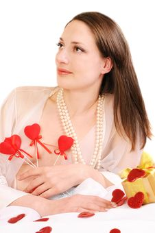 Woman Holds Red Hearts Royalty Free Stock Images