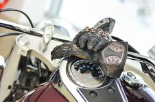 Free Motorcycle Gloves With Carbon On Bike Stock Image - 19082241