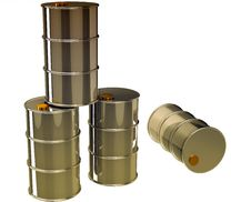 Isolated Oil Barrels Royalty Free Stock Images