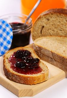 Free Bread With Cherry Jam And Orange Juice Stock Images - 19082984
