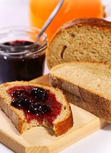 Free Bread With Cherry Jam And Orange Juice Stock Photo - 19082990