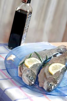 Free Trout Fish Healthy Food With Lemon Stock Image - 19083161