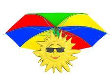Cartoon Sun With Umbrella Royalty Free Stock Images