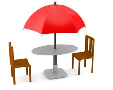 Red Umbrella With Table And Chairs Royalty Free Stock Photography