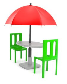 Red Umbrella With Table And Chairs Stock Photo