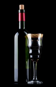 Free Wine Bottle And Wineglass Stock Images - 19086324