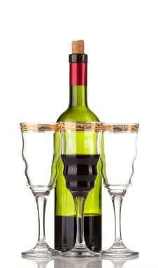 Free Wine Bottle And Wineglass Royalty Free Stock Photography - 19086327