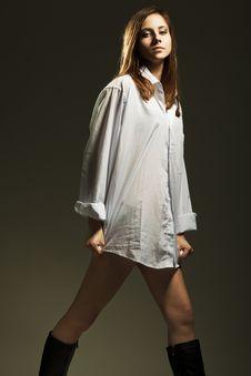Free Beautiful Brunette Woman In Elegant Shirt Stock Photography - 19088052
