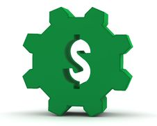 Green Gear With A Dollar Sign Royalty Free Stock Photo
