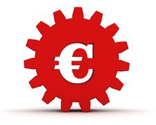 Red Gear With A Euro Sign Stock Photography